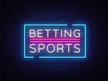Apostando o vetor dos esportes Apostando o sinal de néon Quadro indicador brilhante da noite no jogo, apostando Bandeira clara, e ilustração stock