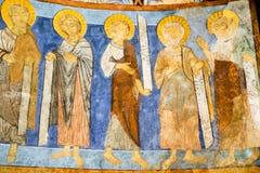 Apostel auf Romanesquemalerei in einer schwedischen Kirche stockfotografie