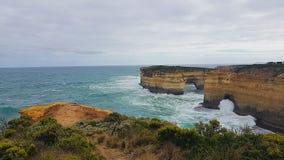 12 Apostels在澳大利亚Roadtrip视图的大洋路从南的观点 免版税库存图片
