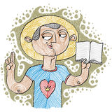 Apostil holding a bible. Hand-drawn illustration of believer, Bi. Ble character. Saint metaphor Royalty Free Stock Photo
