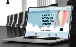 Apostille and Document Legalization Services Concept. 3D. Modern Meeting Room with Laptop on Foreground Showing Landing Page with Text Apostille and Document royalty free stock photos