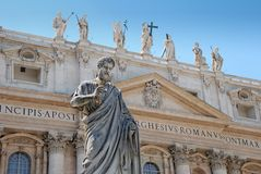 Apostle. Statue of apostle Peter in front of facade of Saint Peter's Basilica in Vatican, Italia Royalty Free Stock Image