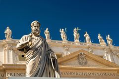 Apostle in front of the Basilica of St. Peter. Statue Apostle Peter in front of the Basilica of St. Peter, Vatican Royalty Free Stock Images