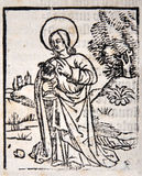 An apostle. Illustration of an apostle from a Title Page in William Tyndale's 1538 edition of the English New Testament, which showed the English text and Royalty Free Stock Photos