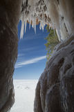 Apostle Islands Ice Caves on frozen Lake Superior, Wisconsin Royalty Free Stock Photography