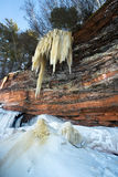 Apostle Islands Ice Caves Frozen Waterfall, Winter royalty free stock photos