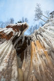 Apostle Islands Ice Caves Frozen Waterfall, Winter stock photo