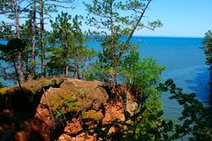 Apostle Islands Lakeshore Wisconsin. View of Lake Superior from Apostle Islands National Lakeshore in northern Wisconsin royalty free stock photography