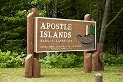 Apostle Islands. National Lakeshore Entrance Sign.  United States Department of the Interior National Park Service Stock Image