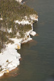 Apostle islands wisconsin. Aerial view of ice coverd shoreline of Otter Island and under water featutes near shore line Stock Image