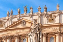 Apostle Paul In St. Peter`s Square With Blue Sky Background, Rome, Italy Royalty Free Stock Photography