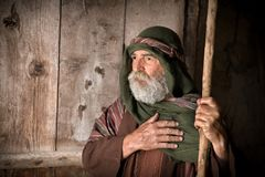 Apostle Peter denying knowing Jesus. On the eve of the crucifixion stock photo