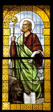Apostle Peter from windowpane of Milan church Royalty Free Stock Images