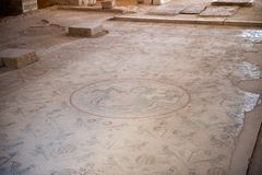 Apostle's church in Madaba. MADABA, JORDAN - APR 28, 2014:  Mosaic on the floor in the Apostle's church in Madaba, Jordan. Madaba is called 'the city of Mosaics Royalty Free Stock Photos