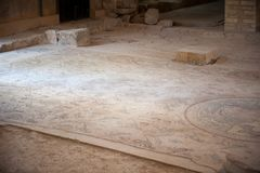 Apostle's church in Madaba. MADABA, JORDAN - APR 28, 2014:  Mosaic on the floor in the Apostle's church in Madaba, Jordan. Madaba is called 'the city of Mosaics Stock Photo