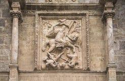 Apostle Santiago. Detail on the facade of the Yuso monastery. Apostle Santiago on horseback. Detail on the facade of the Yuso monastery stock photo