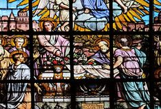 Apostles before the empty tomb of the Virgin Mary. By Edouard Amedee Didron, stained glass window in Saint Thomas Aquinas in Paris, France stock images