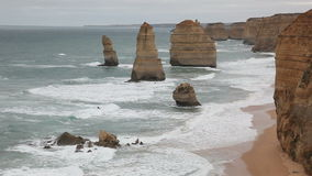 12 Apostles. The famous 12 Apostles on the Great Ocean Road stock footage
