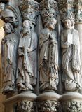 Apostles in the Gloria portal - Santiago de Compostela. The statues of Saints Peter, Paul, James and John in the Gloria portal Portico de la Gloria of the stock photography
