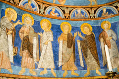 Apostles in medieval painting. Romanesque painting in the church of Bjäresjö in Sweden Stock Photos