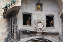 The Apostles procession on the famous Prague clock. The Apostles procession on the famous medieval astronomical Prague clock Stock Image