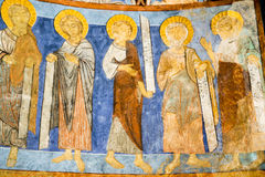 Apostles on romanesque painting in a swedish church. Five apostels standing in apse within Bjäresjö church Stock Photography