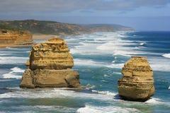 12 apostlesl Australien två Royaltyfria Bilder