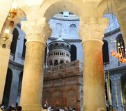 Apostoles' штендеры, Rotonda, Edicule, святая церковь sepulcher стоковое фото rf