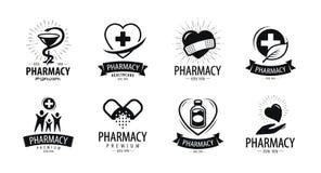 Apotek, apoteklogo eller etikett Medicin hälsa, sjukhussymbol också vektor för coreldrawillustration vektor illustrationer