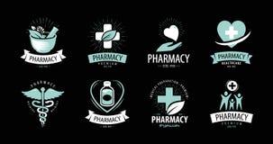 Apotek, apoteklogo eller etikett Medicin vård- symbol Inom arkiv kan du finna mappar i sådana format: eps ai, cdr, jpg vektor illustrationer