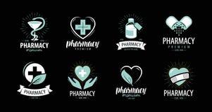 Apotek, apotekuppsättning av logoer eller etiketter Medicin hälsa, sjukhussymbol också vektor för coreldrawillustration royaltyfri illustrationer
