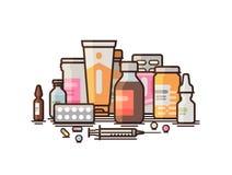 Apotek farmakologi, apotek, medicinska förnödenheterbaner Modern medicin, sjukhus, sjukvårdbegrepp vektor vektor illustrationer