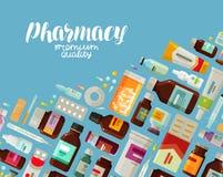 Apotek farmakologibaner Medicin, flaskor och preventivpillerbegrepp också vektor för coreldrawillustration stock illustrationer
