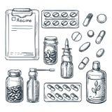 Apotek, medicin och sjukvården skissar illustrationen Piller droger, flaskor, receptdesignbeståndsdelar royaltyfri illustrationer