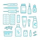 Apotek-, medicin- och sjukvårdlinje konstillustration Skissera preventivpillerar, förgiftar, buteljerar symboler och designbestån royaltyfri illustrationer