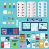 Apotek- och läkarundersökningsymboler, infographic beståndsdeluppsättning royaltyfri illustrationer