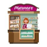 Apotek pharmaceutics, apotek Medicin drog, läkarbehandlingbegrepp den främmande tecknad filmkatten flyr illustrationtakvektorn stock illustrationer