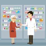Apotekare Old Woman Medicine royaltyfri illustrationer