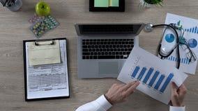 Apotekare som studerar statistik av medicinförsäljningar, farmaceutisk marknadsforskning royaltyfri foto