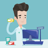 Apotekare som visar någon medicin royaltyfri illustrationer
