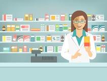 Apotekarekvinna med medicin på räknaren i apotek vektor illustrationer