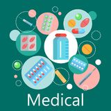 Apotekbaner av medicin- och hälsosymboler royaltyfri illustrationer