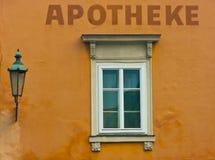 Apotekfönster Arkivbild