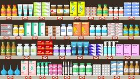 Apotekhyllor med medicin royaltyfri illustrationer