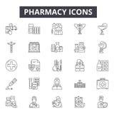 Apoteklinje symboler, tecken, vektoruppsättning, linjärt begrepp, översiktsillustration royaltyfri illustrationer