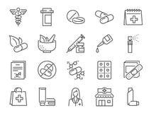 Apoteksymbolsuppsättning Inklusive symbolerna som den medicinska personalen, drog, preventivpillerar, medicinkapsel, växt- medici vektor illustrationer