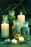 Apothecary ведьмы раздражает украшение хеллоуина волшебных зелиь Стоковая Фотография
