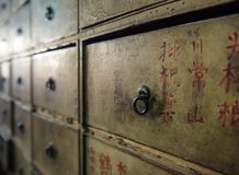 Apothecary asian drawers - retro furniture royalty free stock image