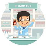Apothecary behind the Counter at Pharmacy Round Stock Photos