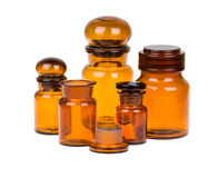 Apothecary bottles. Empty vintage apothecary bottles isolated on white Stock Photography